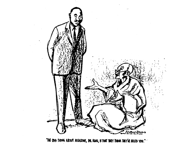 Newspaper cartoon of MLK. (The Chicago Sun-Times)