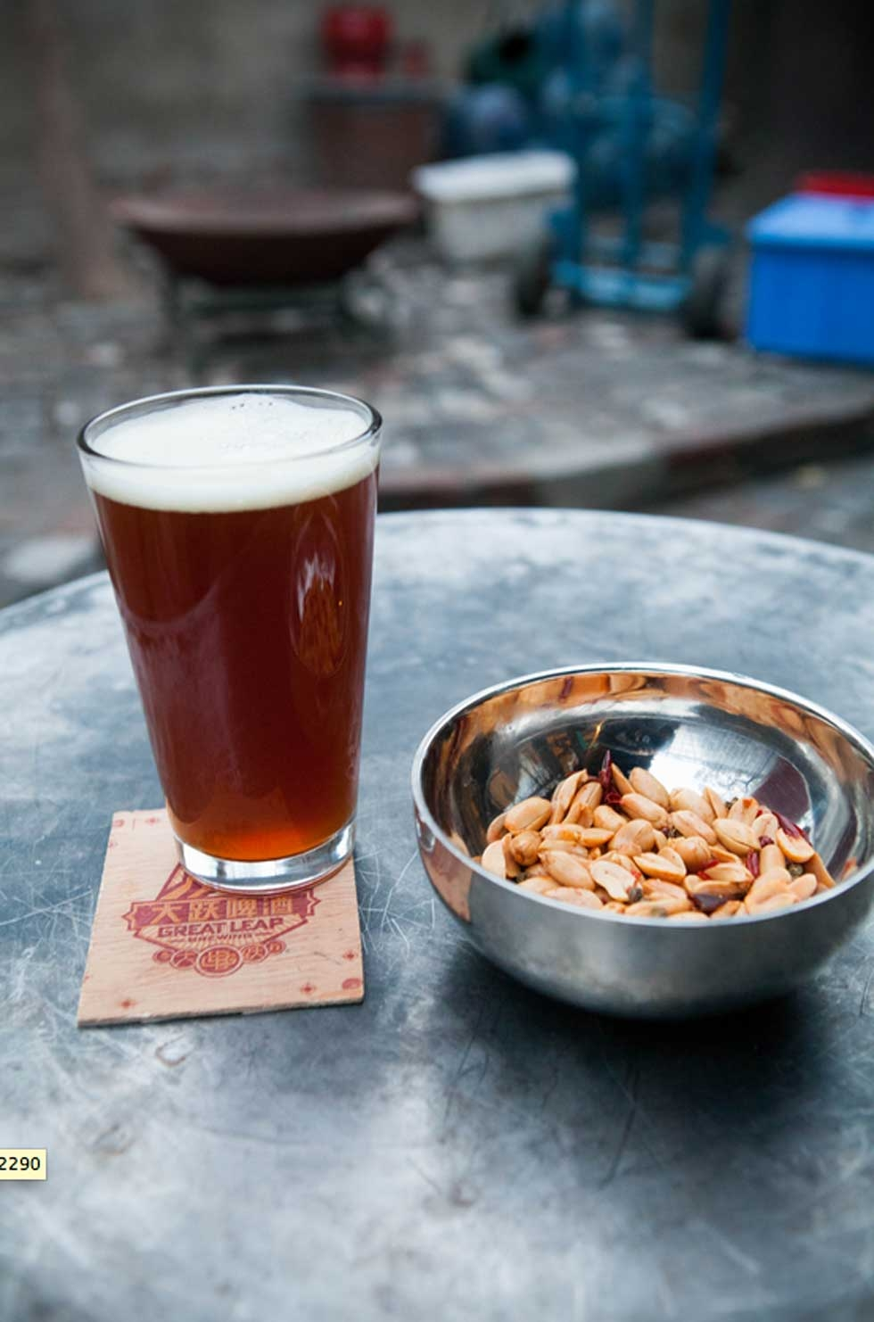 A pint and peanuts. (Great Leap Brewing)