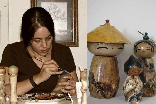 Artist Lisa Holt-Hodson demonstrating her woodworking skills to create a traditional Japanese Kokeshi doll.  (Courtesy of Lisa Holt-Hodson)