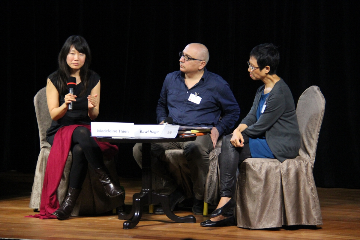 Madeleine Thien (L) and Rawi Hage (C) in Hong Kong on April 23, 2012. (Asia Society Hong Kong)
