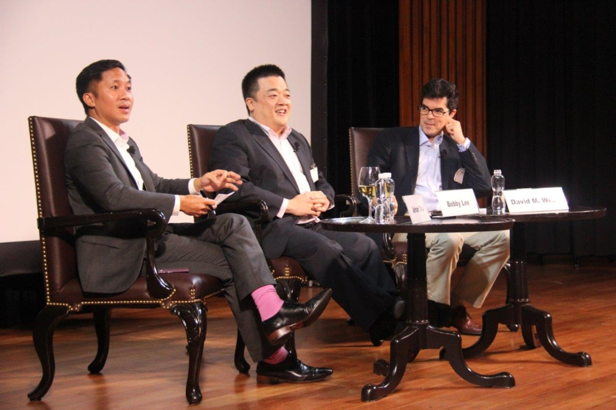 L to R: Jehan Chu; Bobby Lee; David M. Webb in the evening discussion on June 23, 2014. (Asia Society Hong Kong Center)