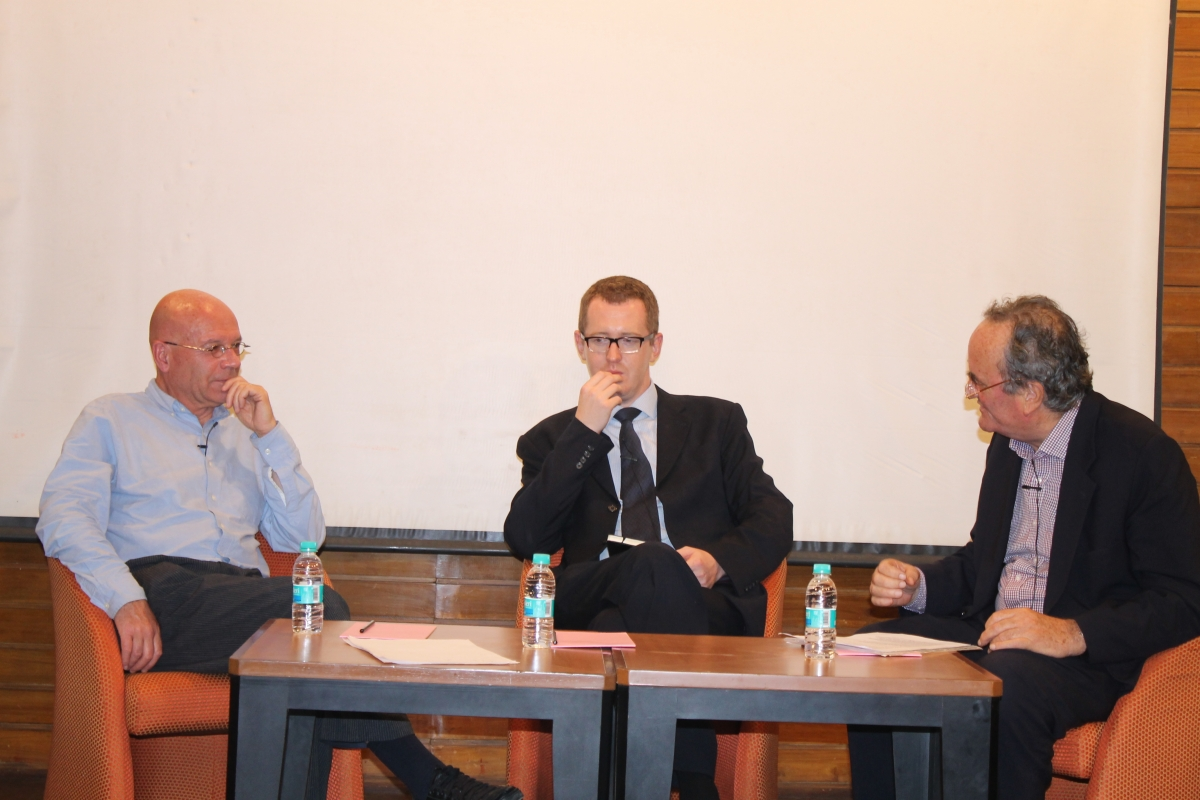 L to R: Martin Jacques, James Crabtree and Mark Tully discuss China in Mumbai on July 31, 2012.
