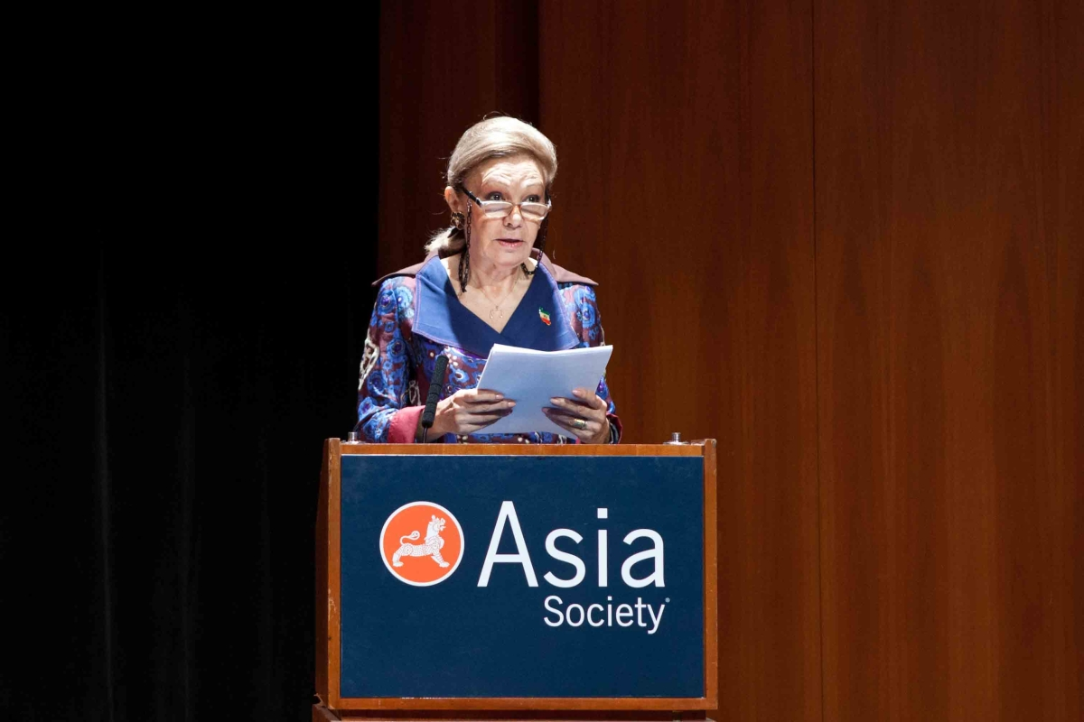 Her Majesty Farah Pahlavi at Asia Society New York on October 5, 2013.