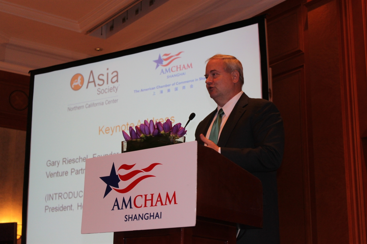 Gary Rieschel of Qiming Venture Partners delivered the keynote address at the Shanghai event. (Photo: Asia Society)