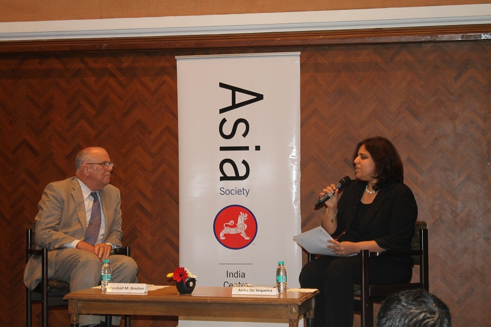 Marshall M. Bouton (L) and Aisha De Sequeira (R) in Mumbai on September 11, 2014. (Asia Society India Centre)