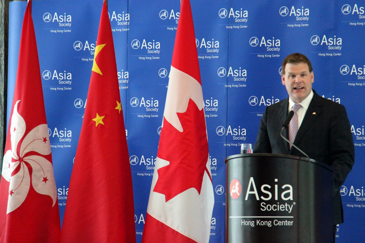 Canada's Minister of Foreign Affairs John Baird delivered a speech on Canadian trade relations in the Asia Pacific region on March 13, 2013. (Stephen Tong/Asia Society Hong Kong Center)