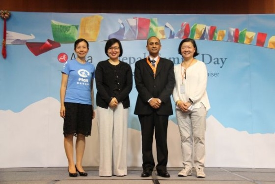 L-R: Kanie Siu, CEO Plan International Hong Kong; Florence Hui, SBS, JP, Under Secretary for Home Affairs at HKSAR; Mahesh Prasad Dahal, Nepal Consul General in Hong Kong; S. Alice Mong, Executive Director of Asia Society Hong Kong Center
