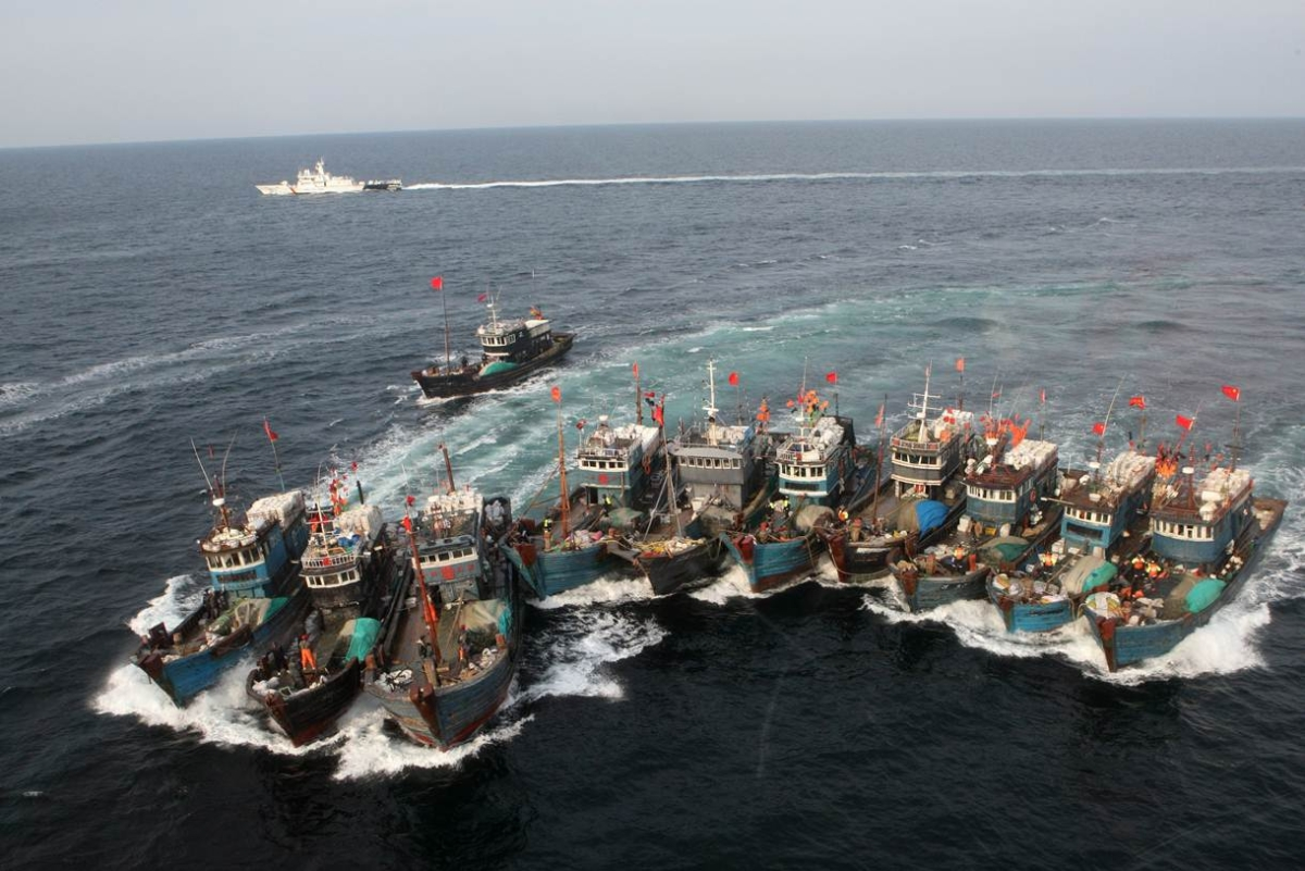 A photo taken on November 16, 2011 shows Chinese boats being chased after alleged illegal fishing in South Korean waters in the Yellow Sea. (Dong-A Ilbo/AFP/Getty Images)