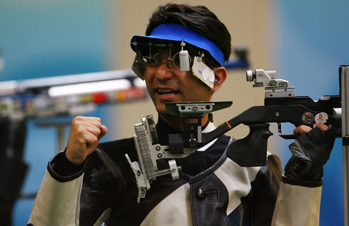 Abhinav Bindra earned India's first-ever individual Olympic gold medal, winning the 10-meter air rifle competition on August 11, 2008. (Jeff Gross/Getty Images)