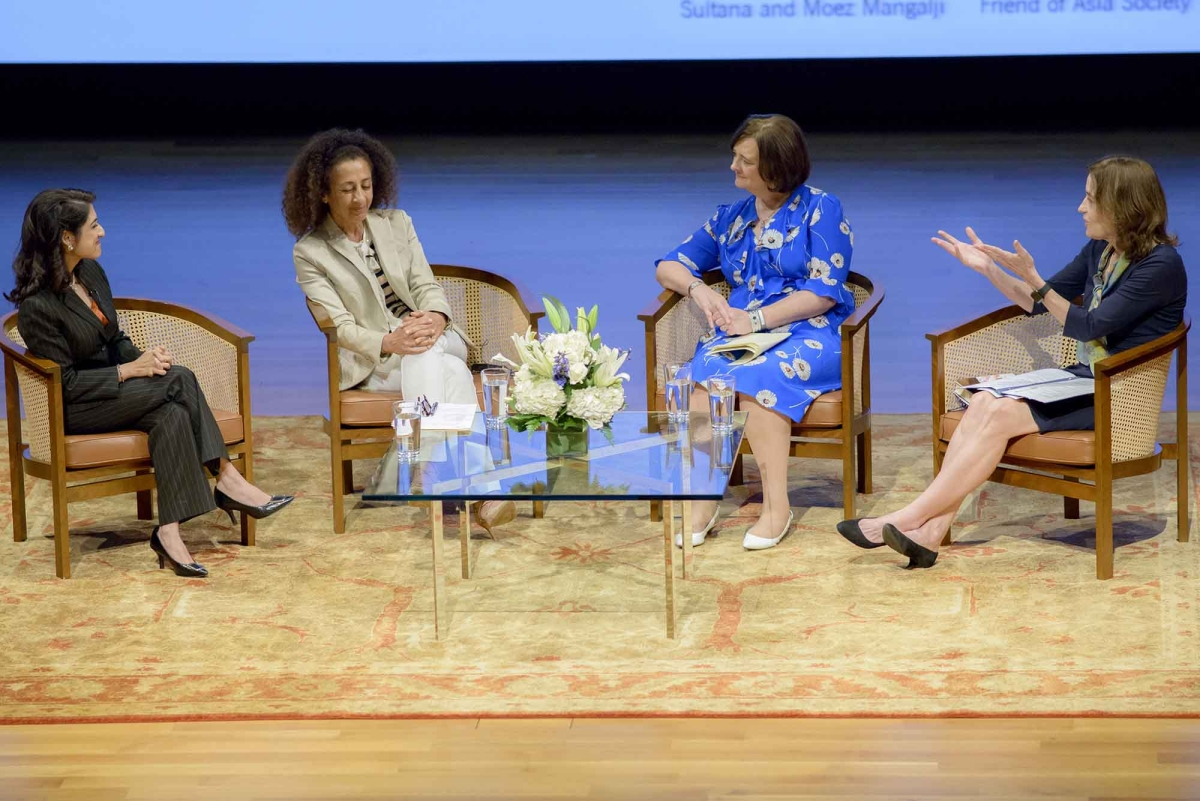 Left to Right: Zahra Jamal, Dina Alsowayel, Cherie Blair, and Andrea White (Jeff Fantich)