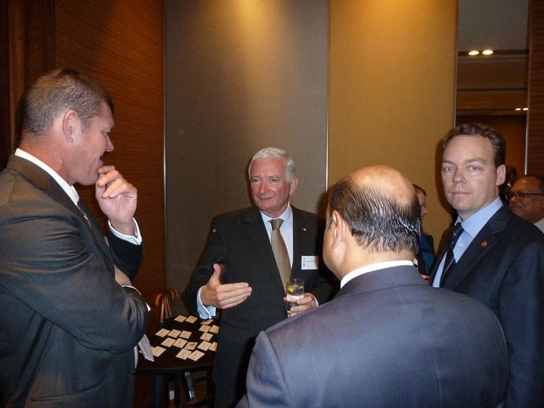 L to R: James Packer with the Hon Nick Greiner and Andrew Low. (Asia Society Australia)