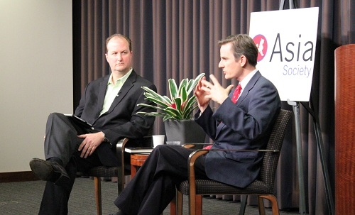 Robert Guest, at right, in conversation with Joe Morgan (Asia Society)