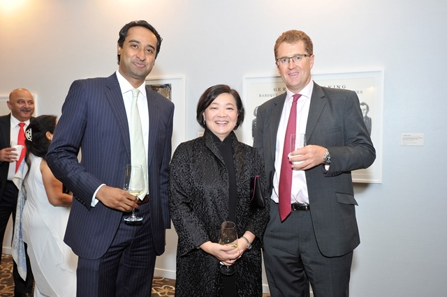 (L to R) Ken Mohan, Chief of Staff, Asia, MetLife Asia; S. Alice Mong, Executive Director of ASHK; Chris Townsend, President & CEO, MetLife Asia at Asia Society's second annual Art Gala on May 12, 2014. (Asia Society Hong Kong Center)