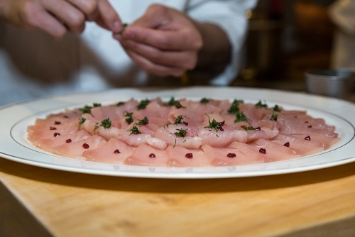Hamachi sashimi with bonito flakes (Michelle Edmunds)