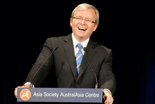 Australian Prime Minister the Hon. Kevin Rudd addresses the Asia Society. (Jan Kuczerawy/Asia Society)