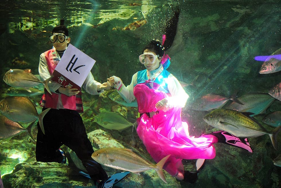 "Divers wearing the traditional ""hanbok"" usher in the Lunar New Year among fishes at an aquarium on January 26, 2014 in Seoul, South Korea. (Jung Yeon-Je/AFP/Getty Images)"