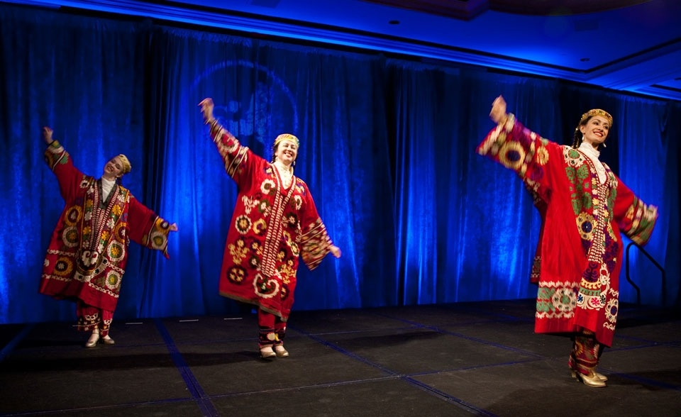 "Silk Road Dance Company performing the dance, ""Tulips of Tajikistan"". (Les Talusan/Asia Society)"