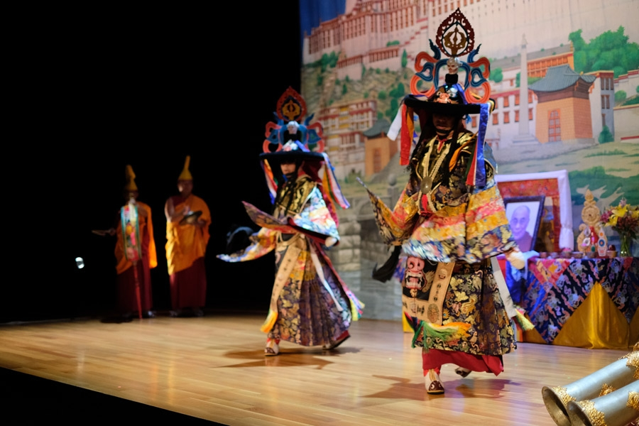 """Shanak Garcham"" or ""Dance of the Black Hat Masters"" is a wrathful-style dance for the elimination of negative energies and hindrances."