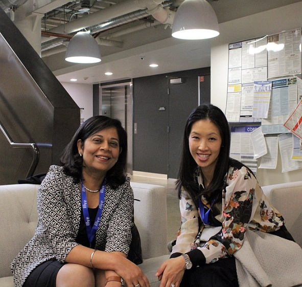 Madhu Kochar of IBM and Denise Lee of Cisco pause for a photo opportunity prior to their panel discussion (Stesha Marcon).