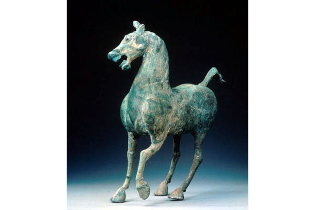 Bronze figure of a horse, Eastern Han dynasty, 2nd century C.E., Excavated from a tomb in Letai, Wuwei county, Gansu, H. 36.5 cm., Gansu Provincial Museum