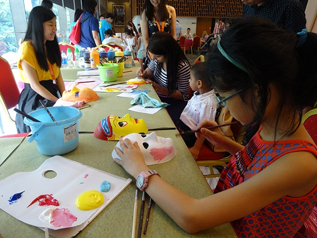 Children making traditional Nepalese masks