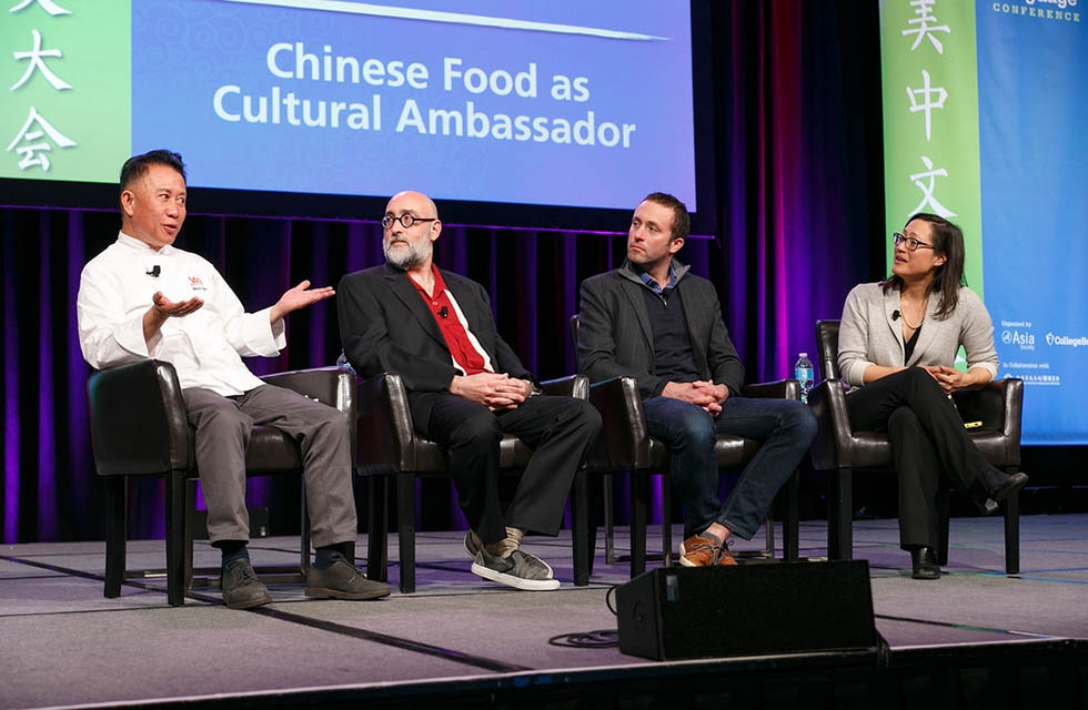 "(L to R) Martin Yan, Howie Southworth, Ian Cheney, and Monica Eng discuss Chinese food as a ""cultural ambassador."" (David Keith)"