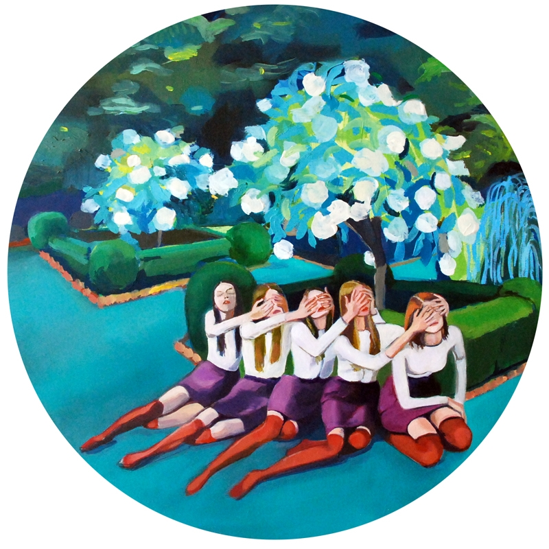 Off The Vine (2012), oil on panel, 13 in. diameter. (Kimia Ferdowsi Kline)