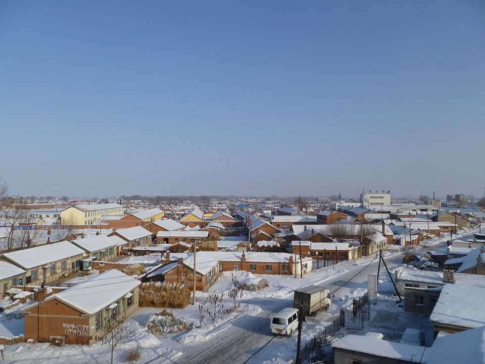 The village in winter, as seen from the new high-speed rail overpass. (Michael Meyer)
