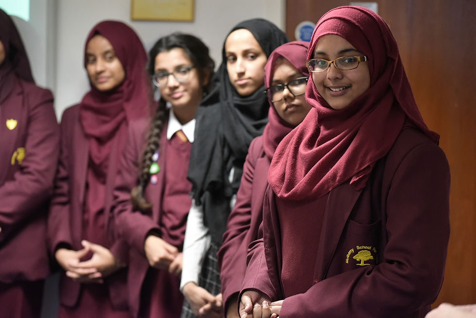 Students at Mulberry School for Girls in London (Philip Meech/Asia Society)