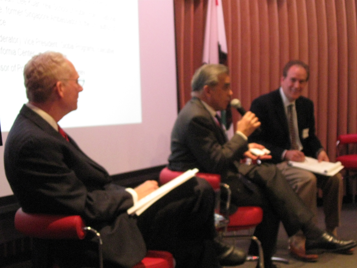 (L to R): Bruce Pickering, Kishore Mahbubani, and Steven Vogel