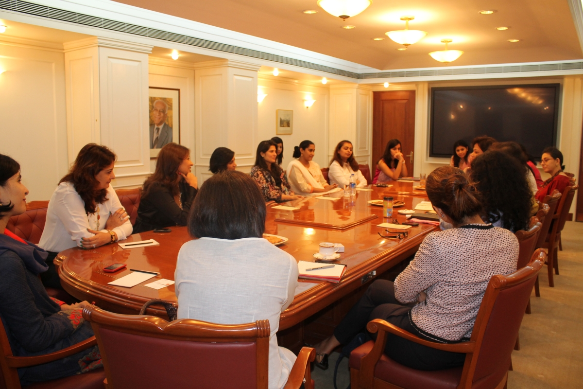 Filmmaker Sharmeen Obaid-Chinoy (C) at the roundtable discussion with women leaders in Mumbai on July 25, 2012. (Asia Society India Centre)