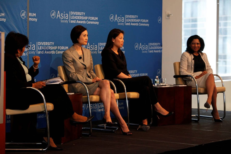 L to R: Asia Society President Vishakha Desai moderates the Opening Plenary with speakers Ida Liu, Gloria W. Lio, and Michelle Scales