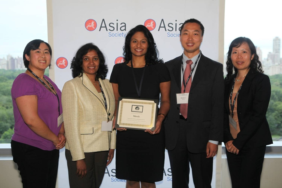 Annie Thomas and Merck delegates celebrating the Honor for Distinguished Practice for Best Company for Support of the Asian Pacific American Community