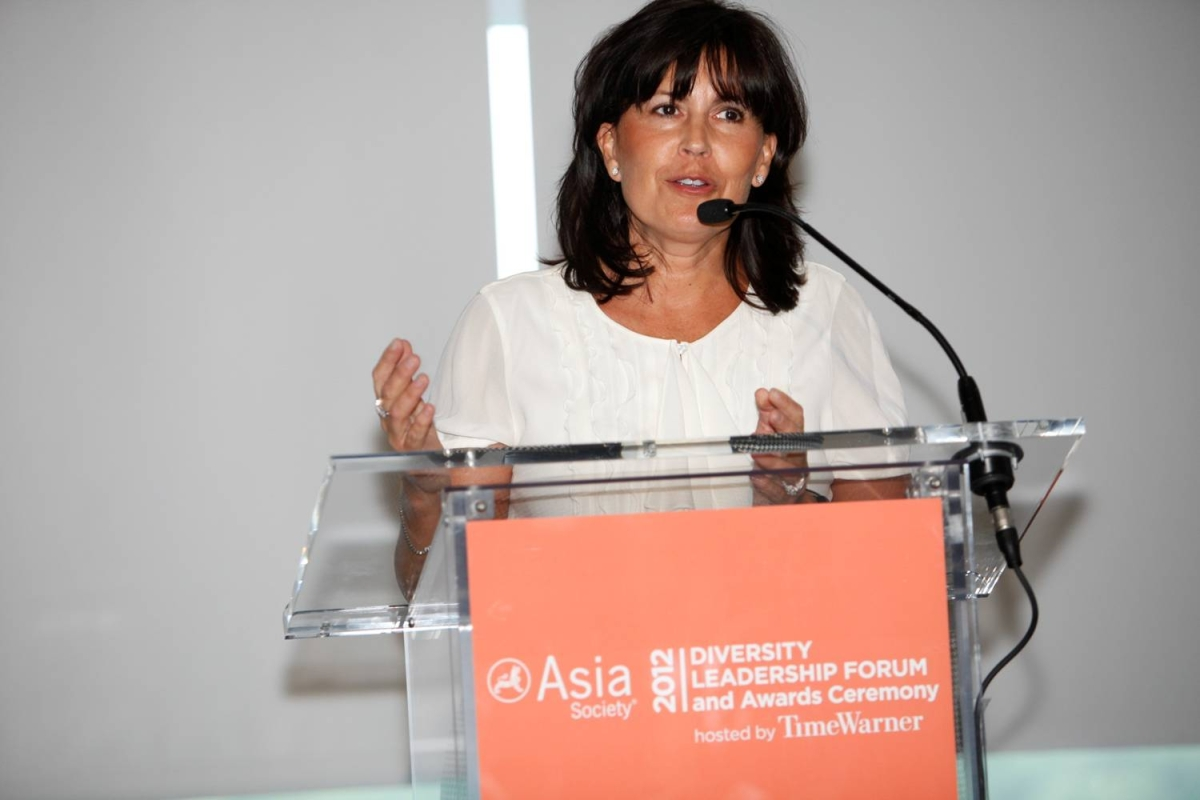Kathy Hannan delivering KPMG LLP's acceptance speech for the Award for Overall Best Employer for Asian Pacific Americans