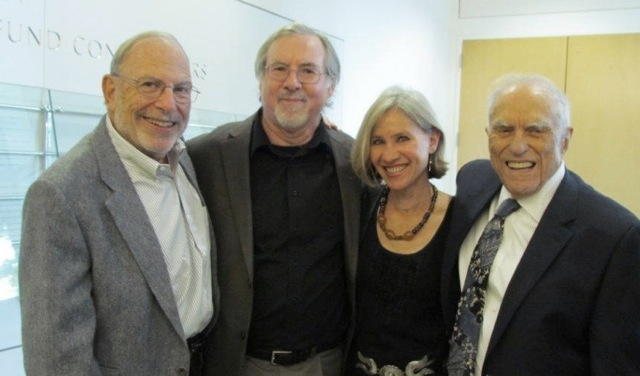 (L to R) The Revolutionary producers Irv Drasnin, Don Sellers, and Lucy Ostrander with Sidney Rittenberg. (Xiaoyan Zhao)