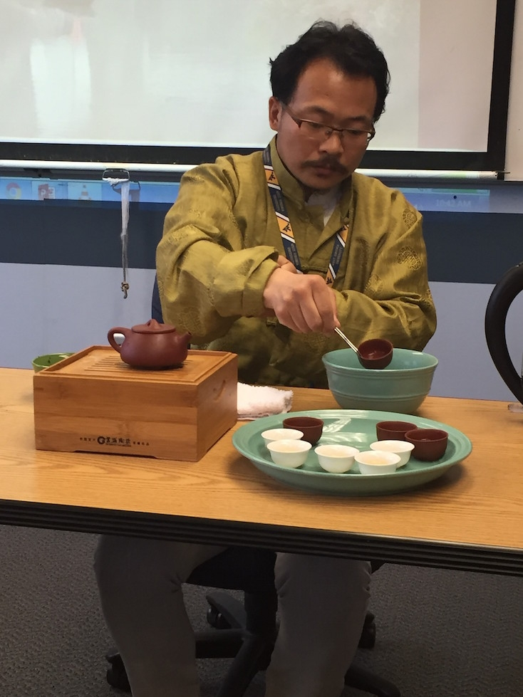 West Virginia educators who are part of the Confucius Institute for Business West Virginia's China travel delegation are treated to a tea ceremony at the orientation session. (Debora L. Nicholson)