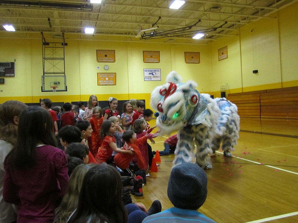 Lion dance at a Chinese New Years event.