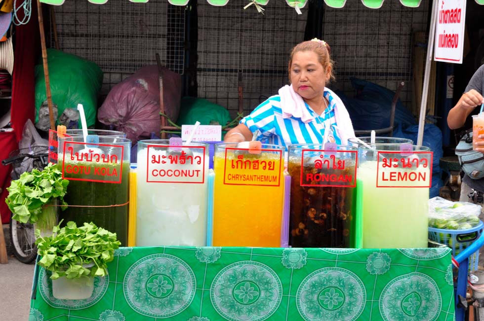Fruit juices and drinks such as coconut, longan, lemon, chrysanthemum, and pennywort from Thailand. (Ryan Fernandez)