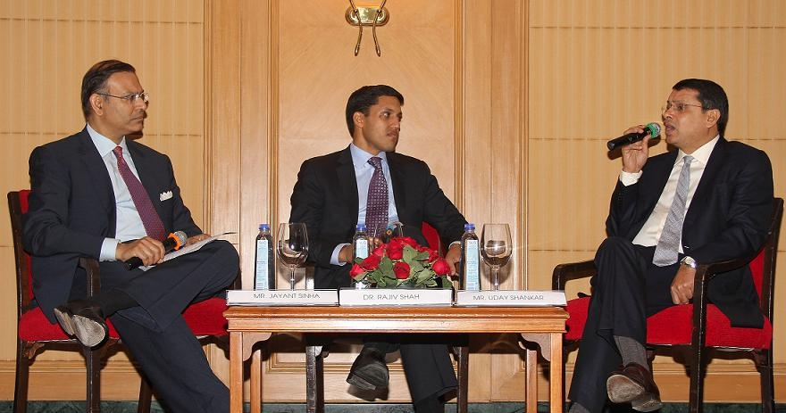 L to R: Jayant Sinha, Dr.Rajiv Shah and Uday Shankar in Mumbai on March 5, 2013. (Asia Society India Centre)