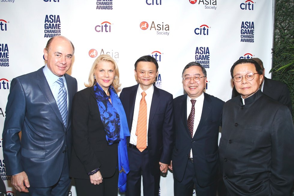 L to R: Rick Friedberg, Francine LeFrak, Jack Ma, Ronnie Chan, and Henry Tang. (Jimi Celeste/Patrick McMullan)