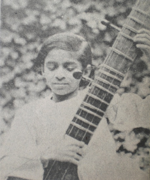 Depicted here with a sitar circa 1930, Shankar was a dancer in his brother Uday's troupe until beginning serious sitar study with Ustad Allauddin Khan in 1938. (Wikimedia Commons)