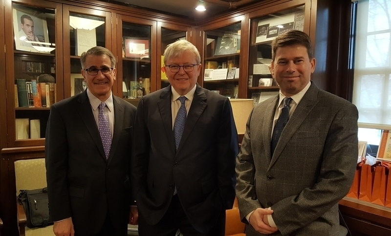 Kevin Rudd with Tufts University President Anthony Monaco and Professor Daniel Drezner at the Fletcher School of Law and Diplomacy on March 10, 2017. (Anubhav Gupta)