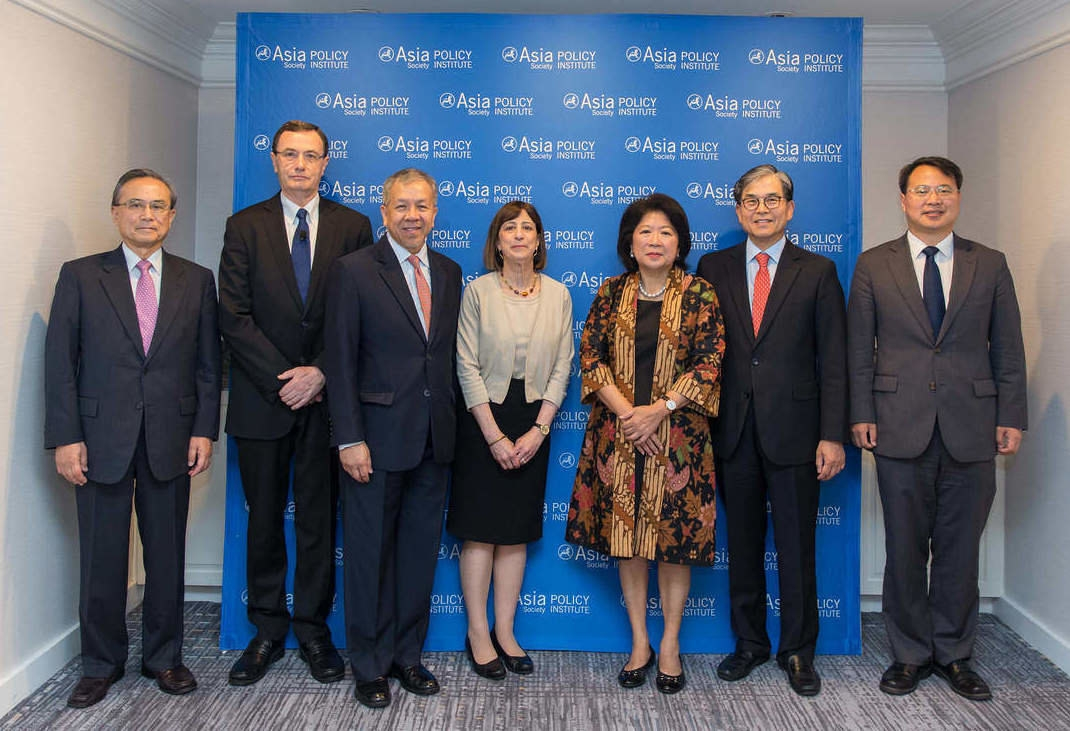The Asia Society Policy Institute launched a Policy Commission that will examine the current trade architecture in the Asia-Pacific. Members include, from left to right, Shotaro Oshima, Peter Grey, Gregory Domingo, Wendy Cutler, Mari Elka Pangestu, Choi Seokyoung and Wang Yong. (Nick Khazal/Asia Society)