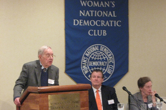 Ambassador Howard Schaffer (left) with Jack Garrity and Ambassador Teresita Schaffer at the Woman's National Democratic Club on Oct. 14, 2009. (Terrence Smith / Asia Society)
