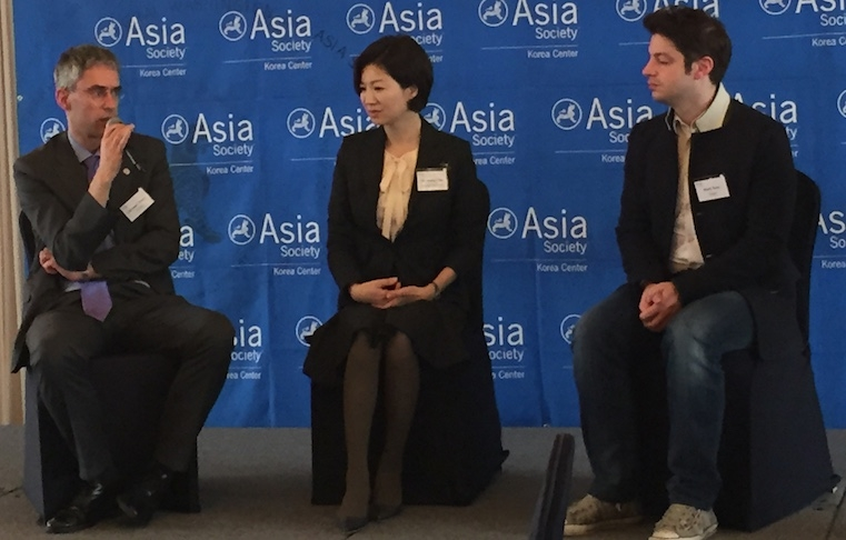From left: Christoph Heider, Secretary General of the European Chamber of Commerce in Korea, Seo-young Chae, Professor in the English Language and Literature Department at Sogang University, and Mark Tetto, CFO of Korea-based startup Vingle and .