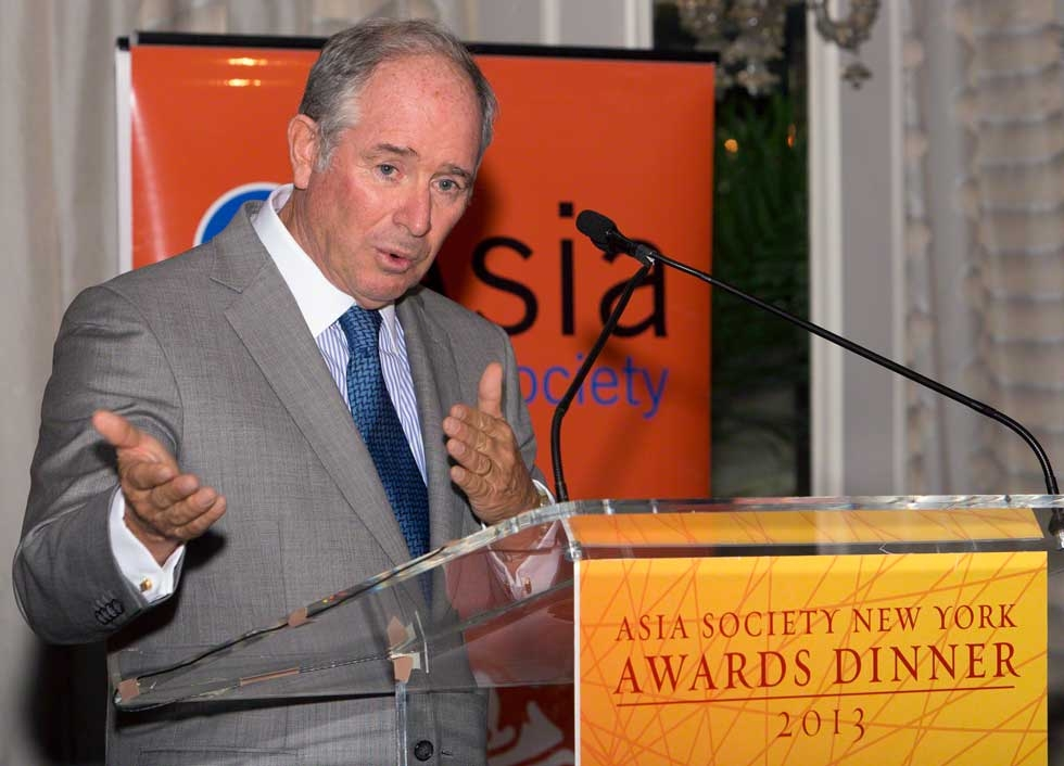Asia Society Trustee and Blackstone CEO and Chairman Stephen A. Schwarzman spoke on the Schwarzman Scholars program at China's Tsinghua University. (Bennet Cobliner)