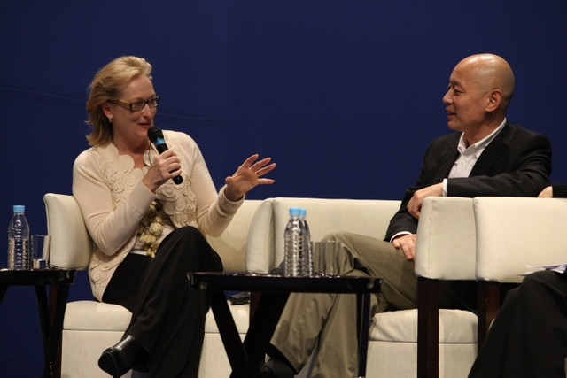 "Meryl Streep talks about her craft with fellow actor Ge You (葛优) during a panel discussion ""On Film and Performing: The Actors' Perspectives"". The discussion was part of the U.S.-China Forum on the Arts and Culture organized by Asia Society and the Aspen Institute. (Dong Lin/Asia Society)"