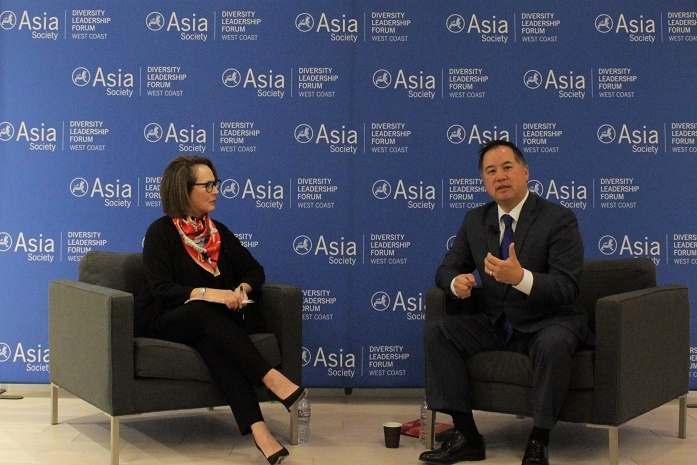 Kohara, left, interviews Assemblymember Phil Ting of the California 19th District during the Closing Keynote Dialogue (Stesha Marcon).