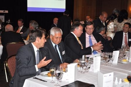 L to R: Tony Cripps, HSBC; Secretary Del Rosario; Richard Laufmann, Indophil Resources NL; Alex Thursby, Australia and New Zealand Banking Group, Secretary Domingo with Michael de Guzman, Macquarie Group.