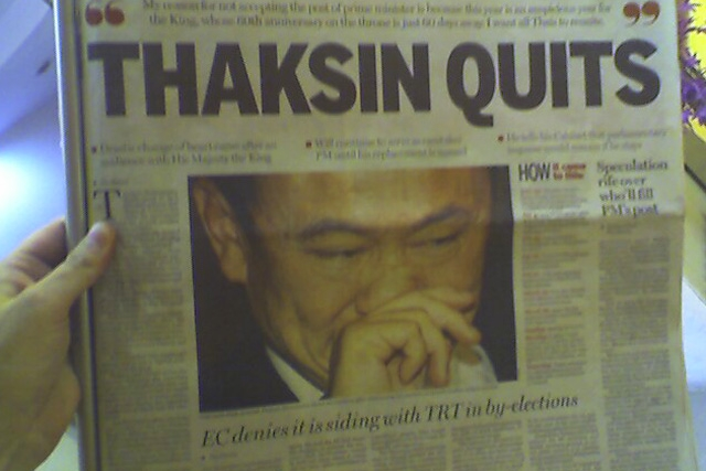 Thai newspaper reports on Prime Minister Thaksin Shinawatra's resignation. (Photo by LeeLeFever/flickr)